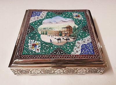 Antique Middle Eastern Persian Islamic Enameled Low Grade Solid Silver Box 572g