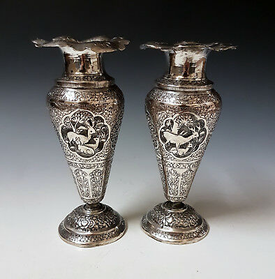 Antique 19th Century Middle Eastern Persian Islamic Low Grade Solid SIlver Vases