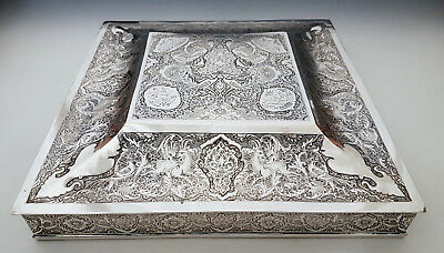 Very Fine Large Antique Middle Eastern Persian Islamic Solid Silver Box 1632g