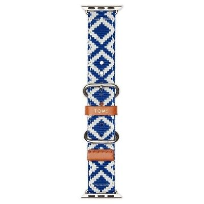 TOMS Blue and White Woven Nylon Apple Watch Band 38mm Genuine Leather NIB NEW!