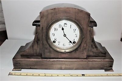 Antique Sessions Mantle Clock and Key., porcelain dial., bell strike.,working