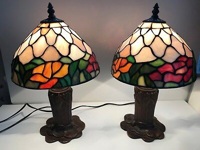 Tiffany Style Table Lamps Set of 2 Vintage Look Stained Cut Glass. Used.