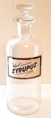Vintage Syrupus Round Apothecary Pharmacy Bottle