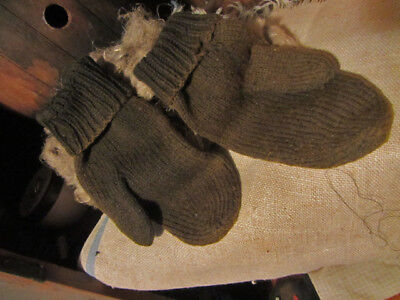 Old Early Antique Primitive Grungy Brown Green Mittens....handmade