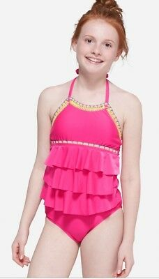 NWT Justice Girl's Stitch Trim Tiered Tankini Swimsuit.  All Sizes! 🏝🏖💦🌞
