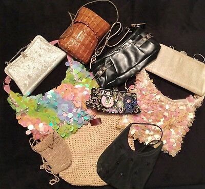 Lot Box Of 10 Purses Many Different Styles Vintage Classic Dressy