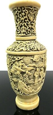 Vtg Heavy Chinese Carved Relief 3D Scenic Imperfect Resin Vase Statue