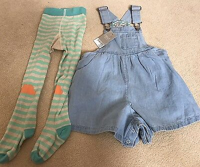 Next Light Blue Dungaree Set With Tights 1.5-2 Years