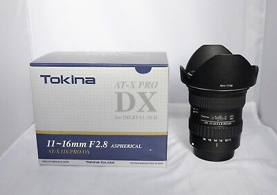 Tokina AT-X PRO 11-16mm f/2.8 DX AF IF Lens For Canon Lens Hood & Original Box