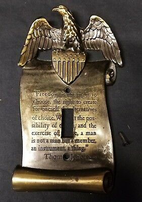 VTG Brass American Eagle Light Switch Plate Cover Jefferson Quote GIM M.C. CO.