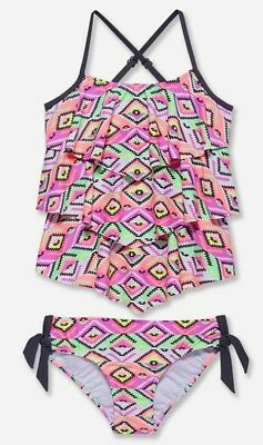 NWT Justice Girl's Coral Geometric Print Tiered Tankini Swimsuit. All Sizes!
