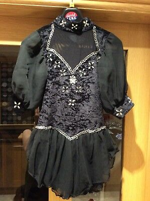 Ice Skating Dress,  Hand Customised Age 6 7 8 Years. Black