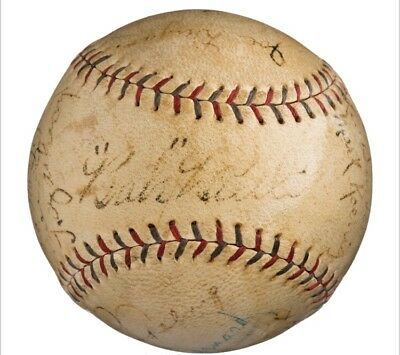 1928 NY Yankees Babe Ruth Lou Gehrig Team Signed Baseball Ball 19 Autos PSA LOA!