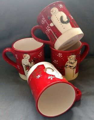 Certified International SNOWMAN 16oz Mug Set lot of 4 Red Holiday coffee tea cup
