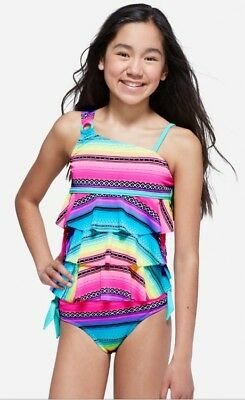 NWT Justice Girl's Baja One-Shoulder Tiered Tankini Swimsuit.All Sizes!