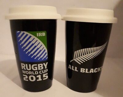 Rugby Union World Cup 2015 New Zealand All Blacks Travel Cups Set of Two