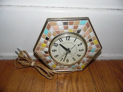 Vintage General Electric Mosiac Wall Clock Works Made In Usa