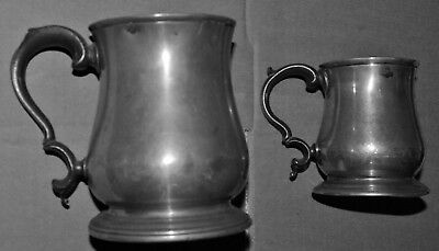 Early Victorian Pewter Tankards. Matching Pair.