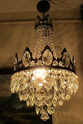 Antique Vintage BIG French Basket style Crystal Chandelier Lamp 1940's 13 in..