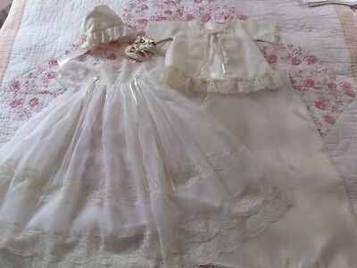 Vintage Nylon Lace Girls Gown Jacket Slip Booties Bonnet Christening Outfit