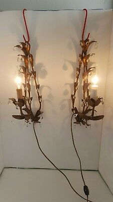 Antique Vintage Two Match French Wall Sconces Lighting Chic Shabby Mid Century