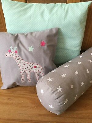 NURSERY PINK GIRAFFE CUSHIONS 3 PIECE SET GREY MINT HANDMADE new baby boy girl