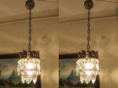 PAIR  Antique VNT.Small French  Basket style Crystal Chandelier Lamp 1940's.6 in