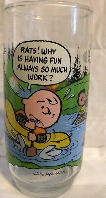 Camp Snoopy Collection 1968 Mcdonalds Glass Cup Collectible Peanuts Gang Charlie
