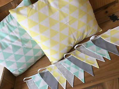 NURSERY CUSHIONS HANDMADE GREEN YELLOW BUNTING geometric modern newborn baby boy