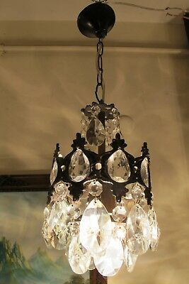 Antique Vnt.French Basket Style Crystal Chandelier Lamp Light 1940's.6 in RARE