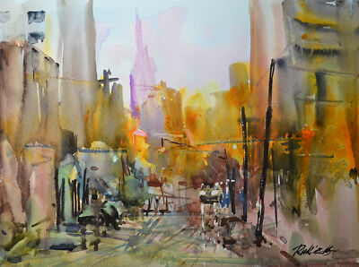 Contemporary Art/ Original painting by American Artist Rukie Jackson / Cityscape
