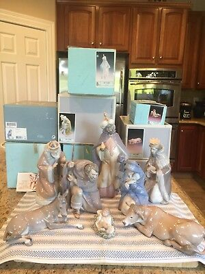Lladro Nativity Set 9 Pieces w/ Original Boxes - Mint Cond 5476 to 5483 and 5485