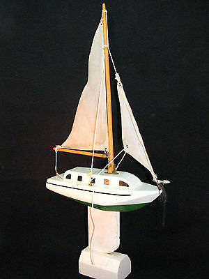 """Solid Wood Toy Pond Sailing Boat 10"""" Hand Painted Stand and Weight Sails Rigging"""