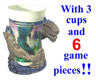 Godzilla Cup Holder Movie Monster King 1998 With 3 Cups And Game Pieces Intact!