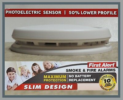 First Alert Smoke and Fire Alarm Photoelectric Slim Design 10 Yr Battery P1210