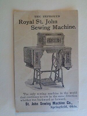 Antique Royal St. John Sewing Machine Trade Card Advertising Port Washington WI