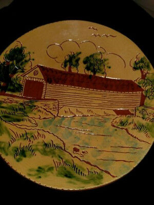 Vintage L Breininger Robesonia PA Redware Art Pottery Glazed 10 inch plate