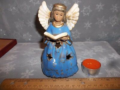 Ceramic Angel in Blue Gown w a Book is a Tea Light Candle Holder for Table Top