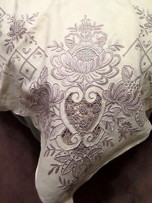 """MADEIRA Linen Tablecloth 81""""x 67"""" & 12 Napkins Hand Embroidered HEIRLOOM Quality"""