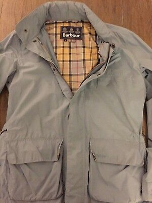 Barbour Lightweight Mens Removable Hooded Water Resistant Jacket, size large.