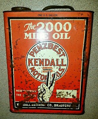 Rare one gallon Kendall Penzbest motor oil can. Great Graphics!