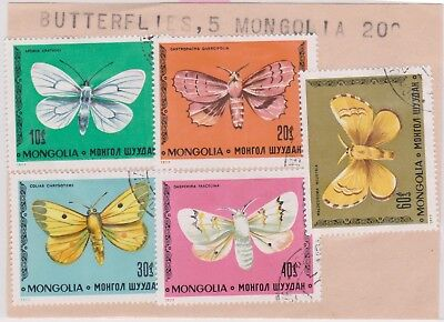 (V8-39) 1980s Mongolia old stamp pack 5stamps Butterflies (AO)