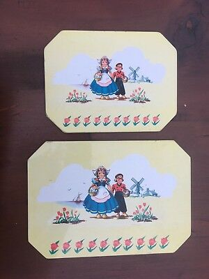 PAIR VINTAGE 1950's PRO-TEX KITCHEN TRIVET DUTCH BOY & GIRL WINDMILL TULIPS