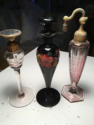 3-ART DECO dauber PERFUME BOTTLES All Are Tall Bottles-AS IS