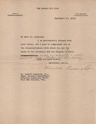 Theodore Roosevelt signed letter with handwritten edits