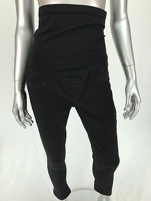 Bella Vida Maternity Jeans Skinny Leg Black Sz Medium Full Panel Stretch Cropped