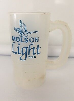 Vintage Molson Light Beer Golden Super Mug Plastic With Handle Alcohol Clear