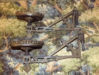 Victorian  DECO Matching Pair OF Eastlake Style Oil Lamp Swinging Wall Brackets