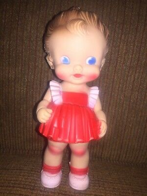 """Vintage 1950s Sun Rubber 8.5"""" Tall Girl Doll Red Dress Ruth Newton Squeaker Toy"""