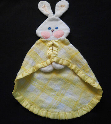 1979 Fisher Price Bunny Security Blanket Yellow Plaid